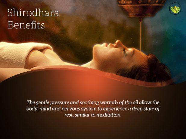 Shirodhara oil therapy.