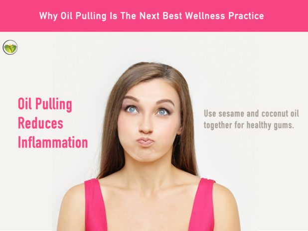 A woman oil pulling demonstrating oil pulling benefits, oil pulling side effects, oil pulling benefits. will oil pulling help a toothache