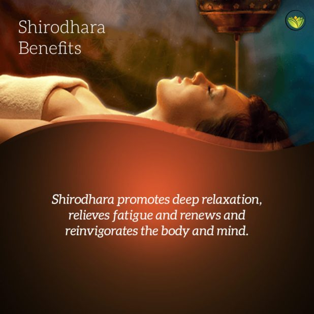 Woman receives shirodhara therapy, a form of Ayurvedic bodywork (Ayurveda bodywork).