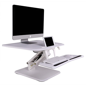 Sit Stand Desktop Converter Flexispot F3W White Bakagain