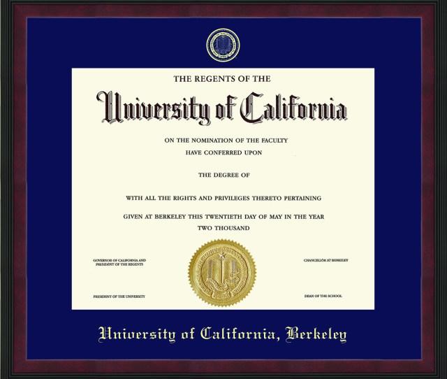 University Of California Berkeley Olympia Diploma Frame