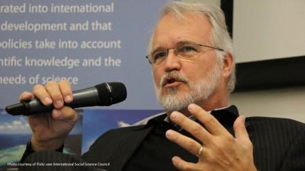 Craig Calhoun speaking at a strategy workshop in 2017.