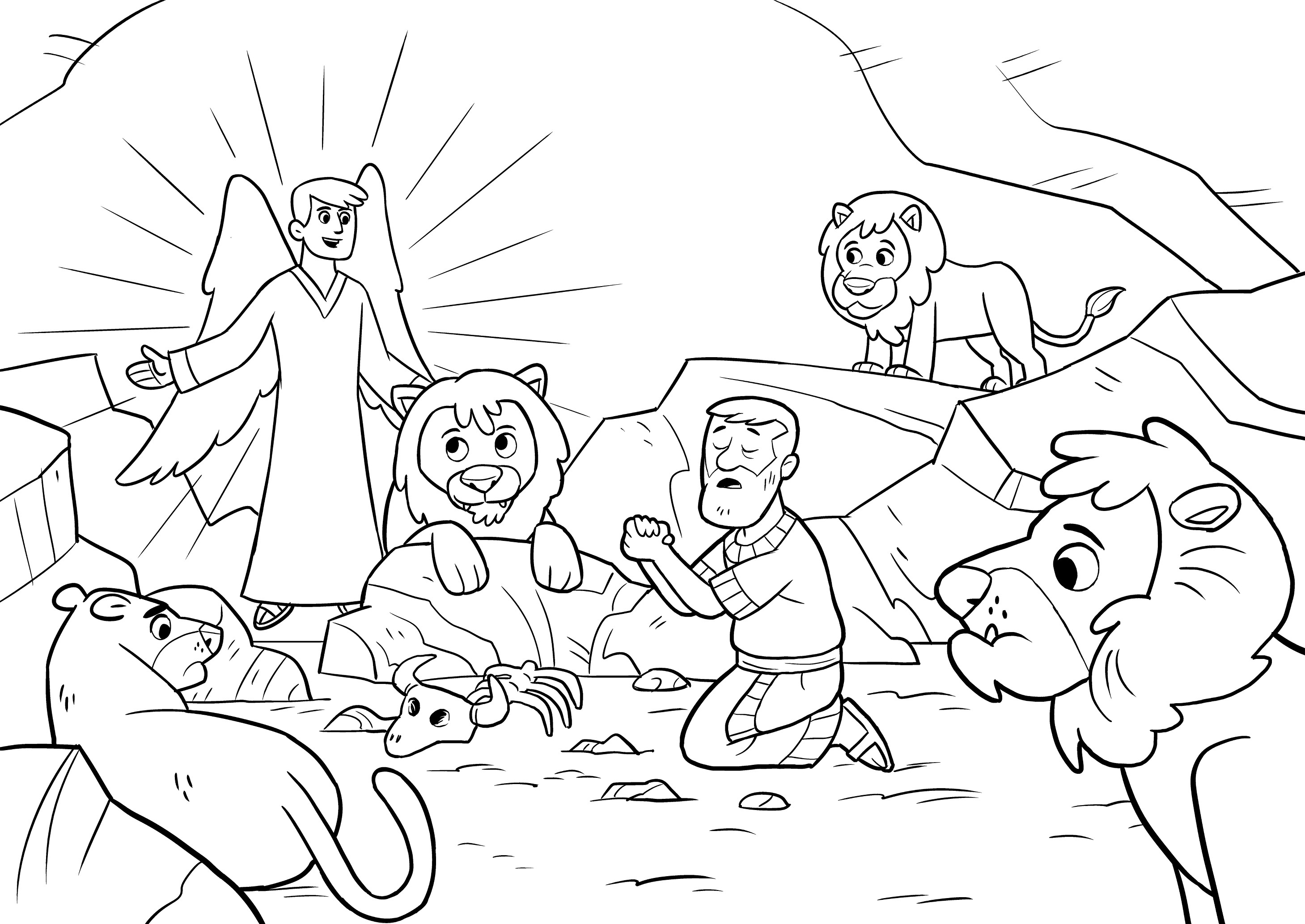 Daniel And The Lions Den Pages Printable Coloring Pages