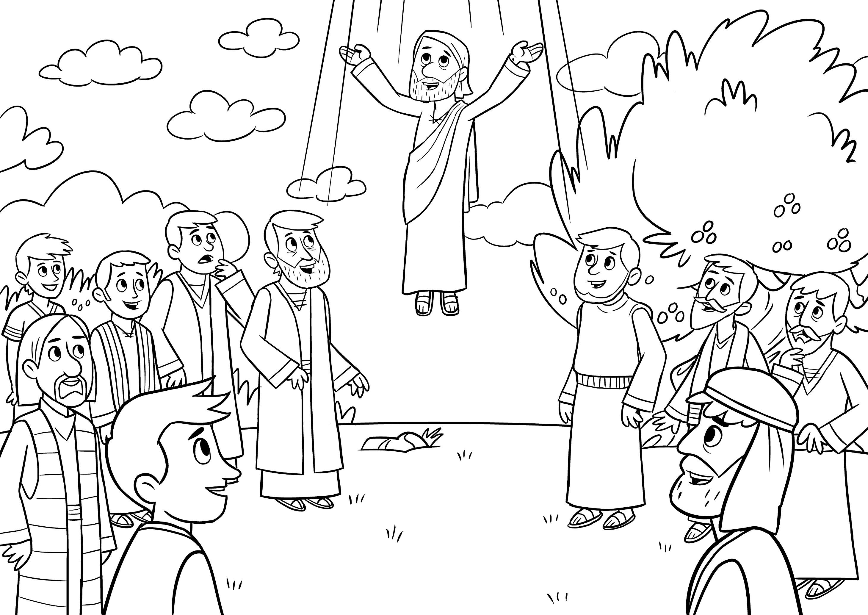 Beautiful Jesus Ascends To Heaven Coloring Page