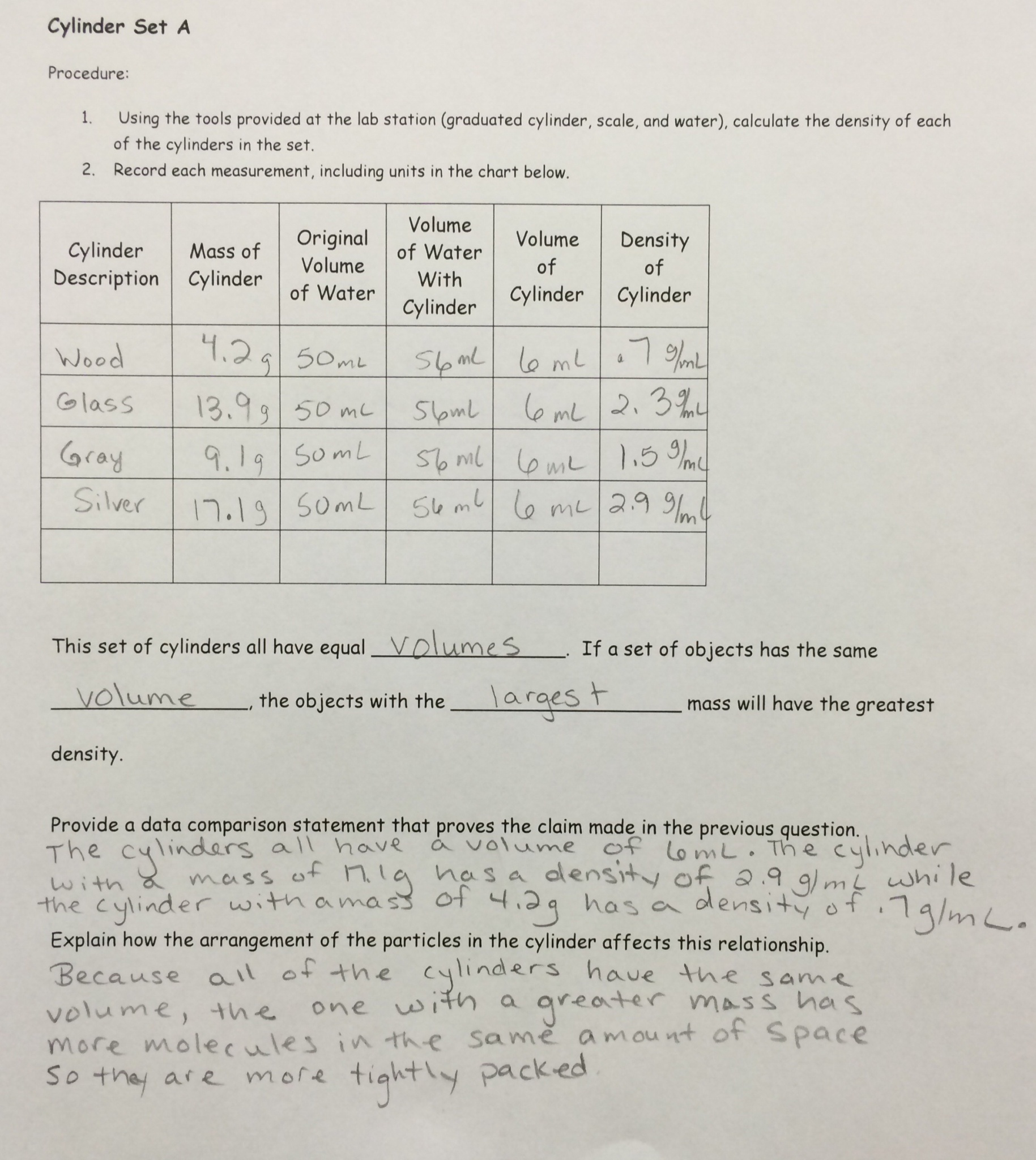 Density Lab Worksheet
