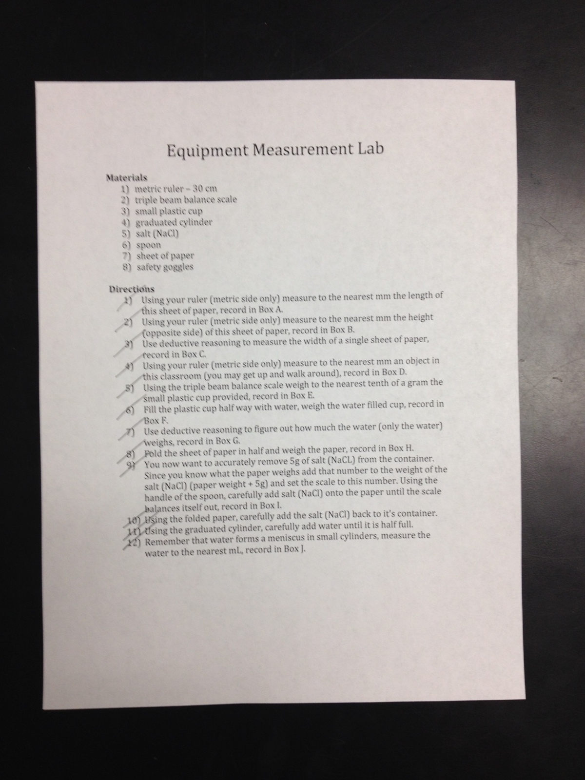 Eighth Grade Lesson Equipment Measurement Lab