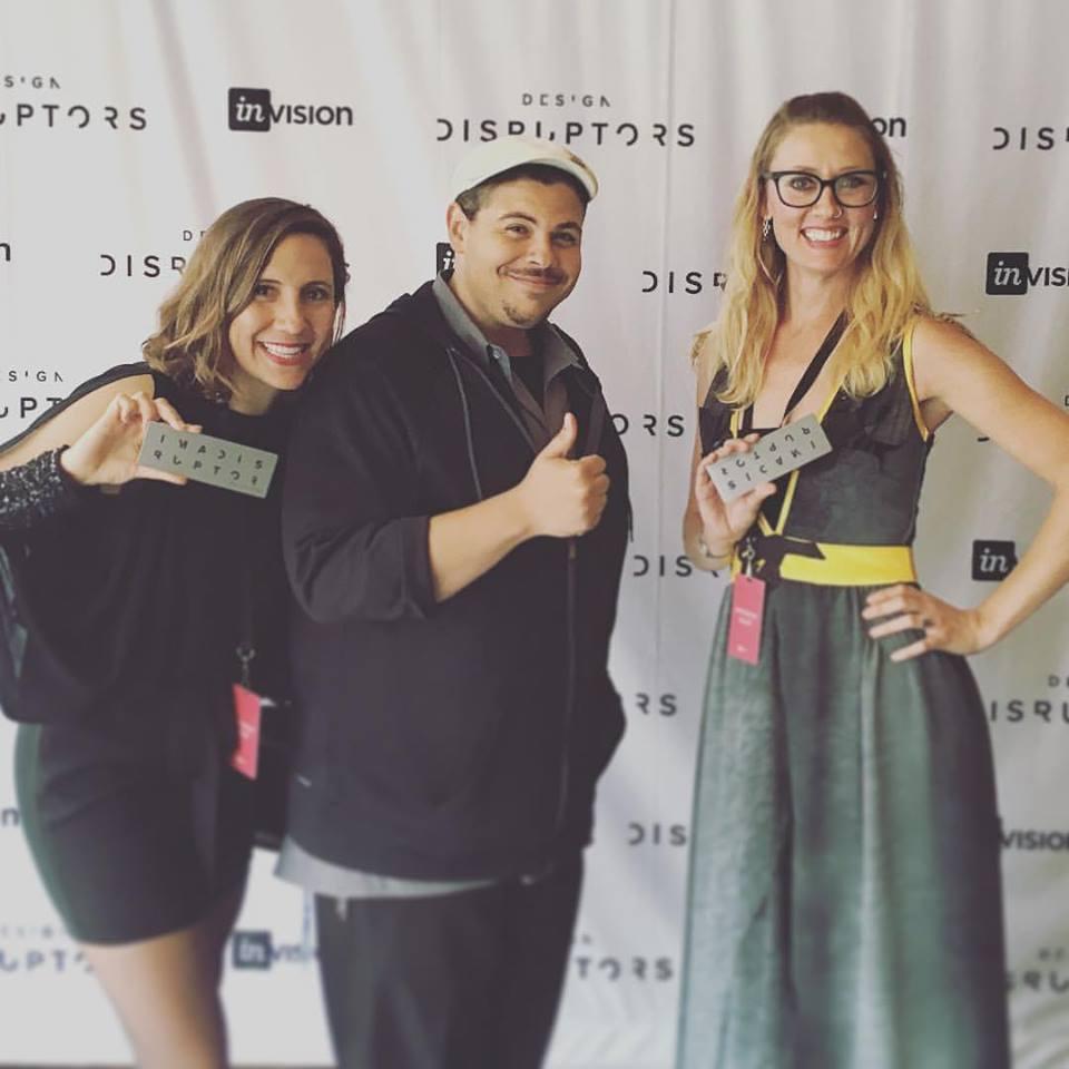 Michaela, InVision CEO Clark Valberg, and Sadie at the DESIGN DISRUPTORS premiere.