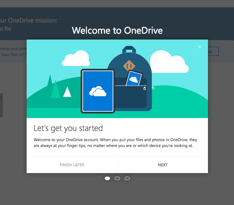 One Drive onboarding experience