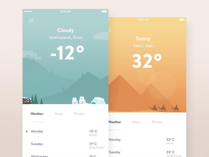 Weather app UIs