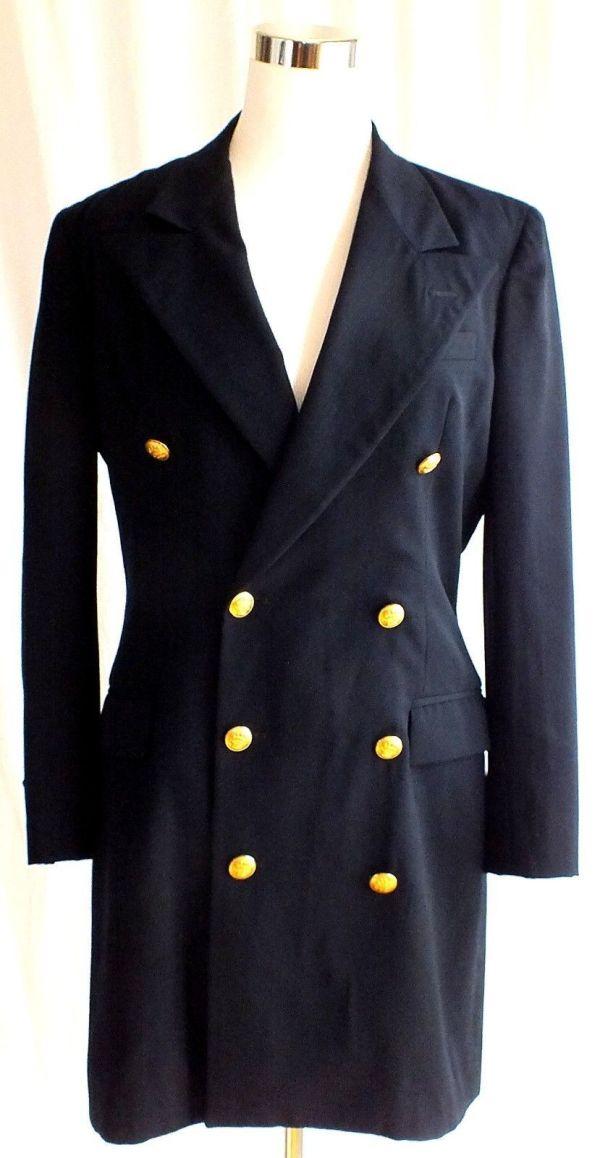 Vtg Ralph Lauren Womens Double Breasted Navy Blue Blazer ...