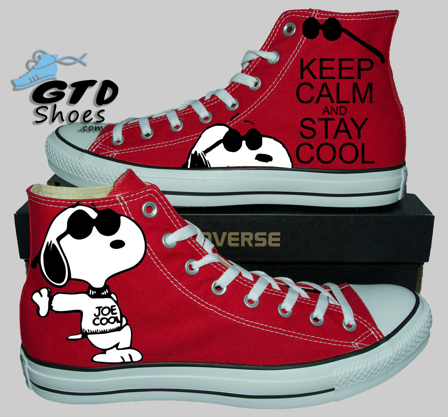 Painted Converse Sneakers Snoopy Keep Calm Fanart