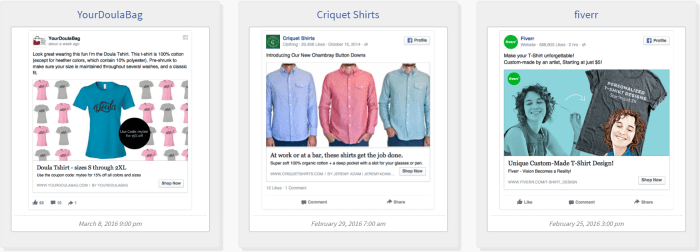 Facebook Shirt Ad Example
