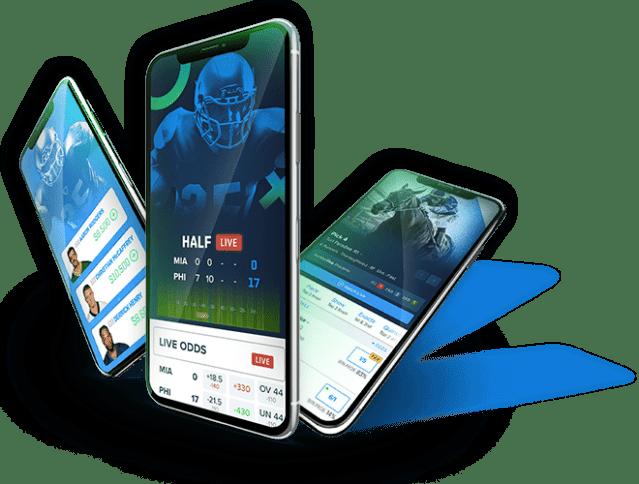 FanDuel Sportsbook, Fantasy and Racing phone screens