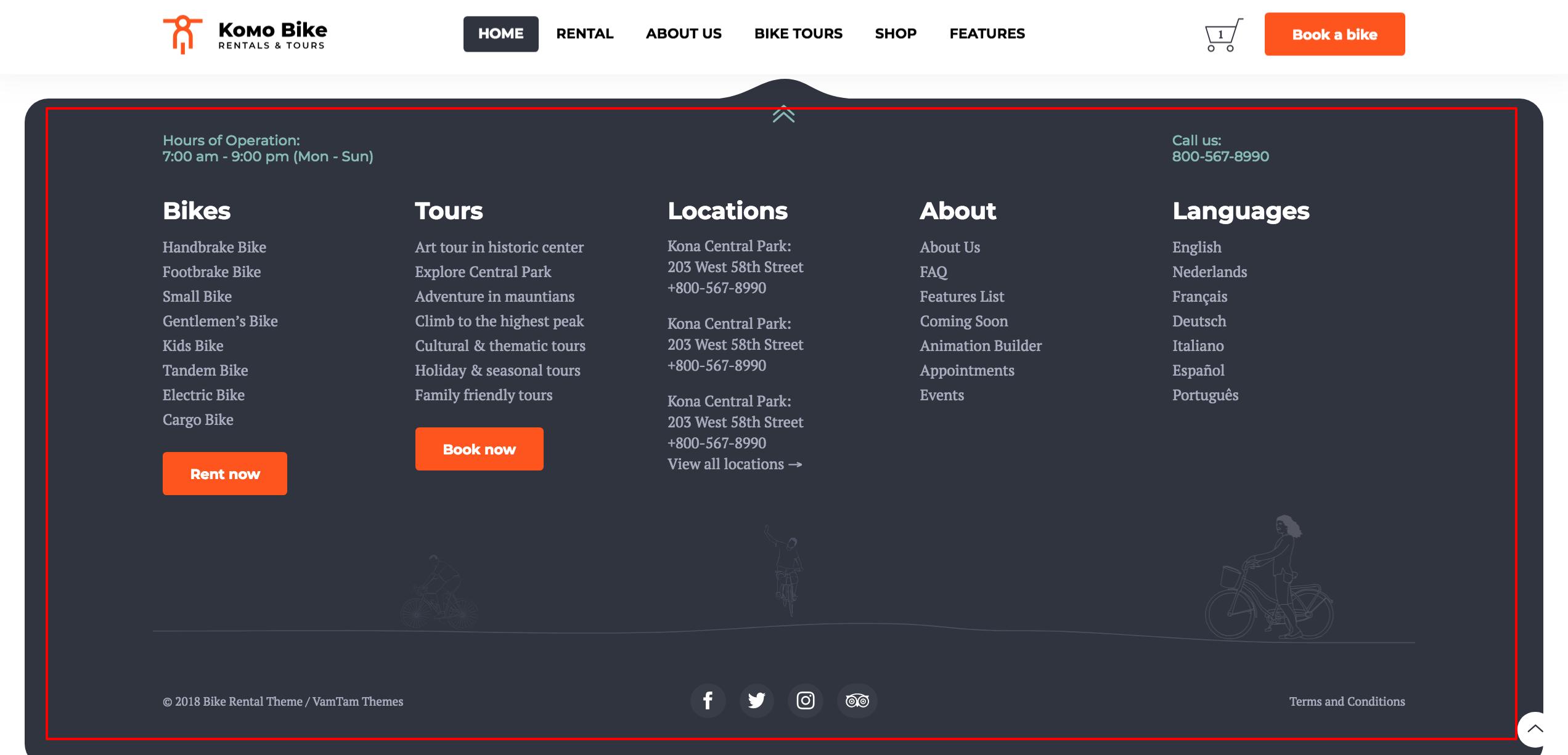 Namun, sebelum memodifikasi footer design website, sebaiknya anda menyimak beberapa trik mendesain footer berikut ini. Komo - Rentals & Tours Bike WordPress Theme: How to edit ...