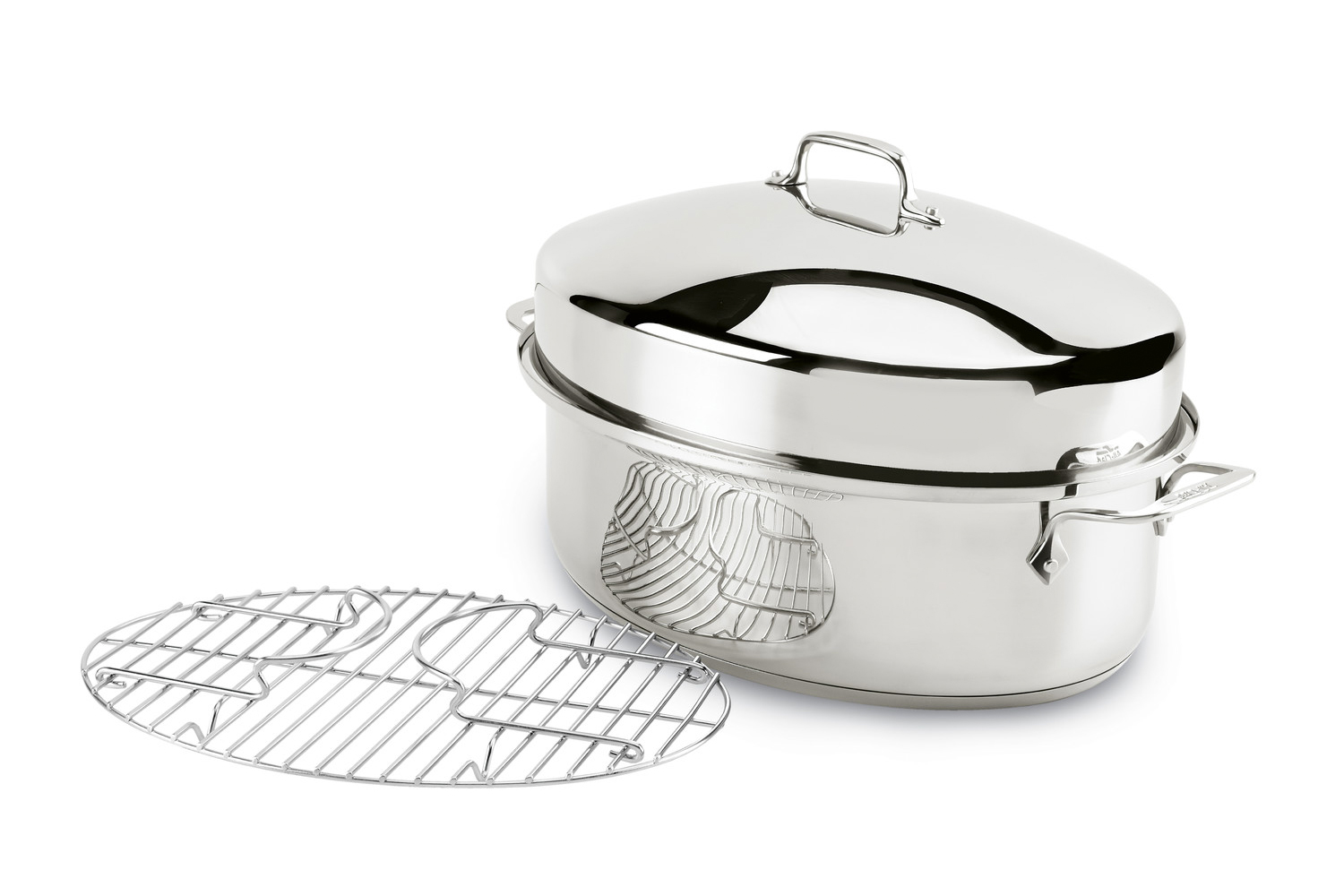 all clad stainless steel covered oval roaster with rack