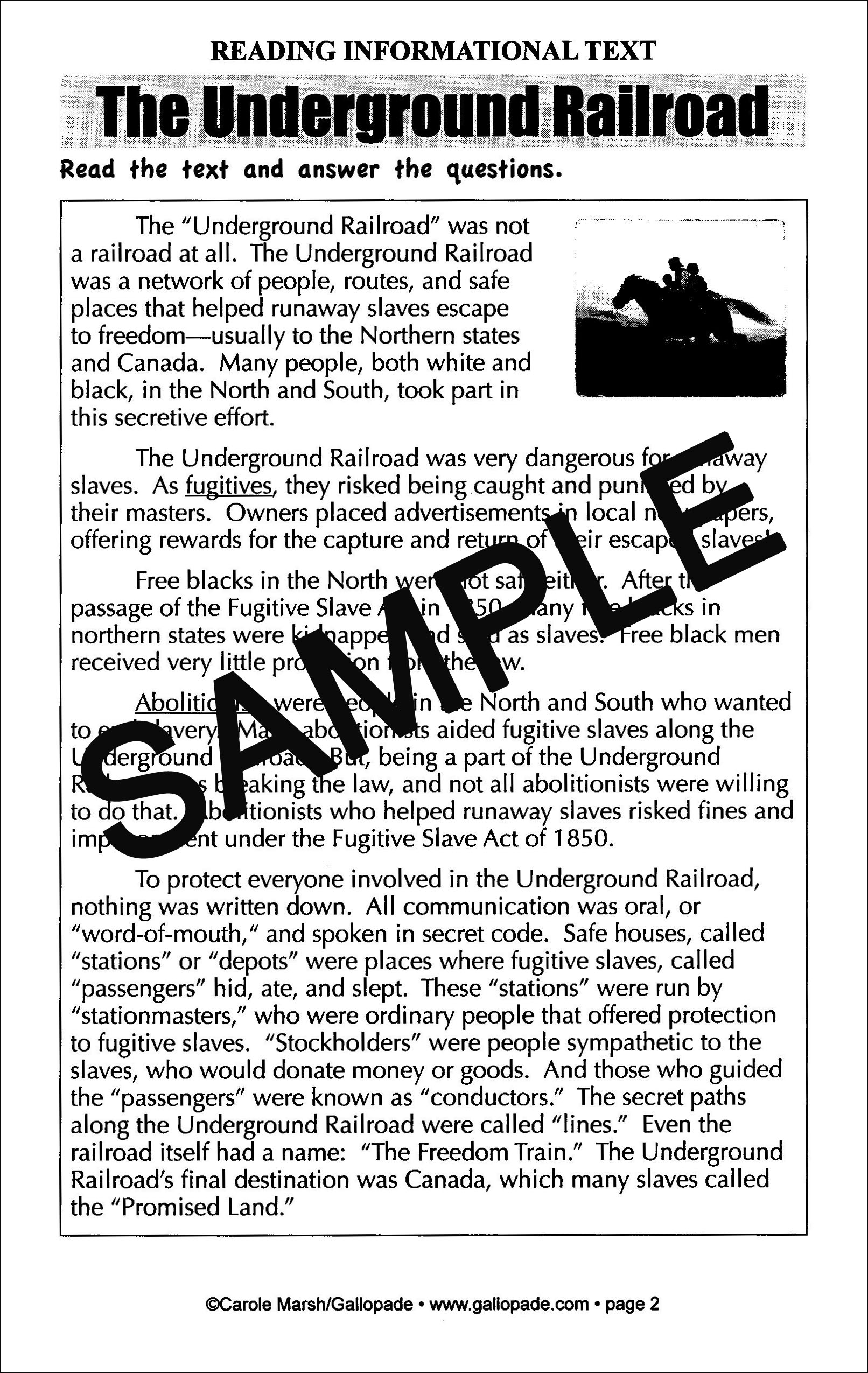 Underground Railroad Common Core Lessons And Activities Book Cc Lesson Amp Activities Books