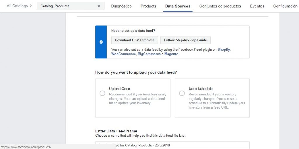 Importador de productos en Facebook Catalog Manager