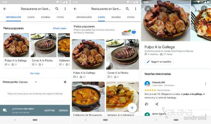 Google Maps restaurantes