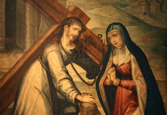 Encuentro de Cristo con su Santísima Madre camino del Calvario, por Seguidor de Luis de Morales – Museo de Salamanca (España)