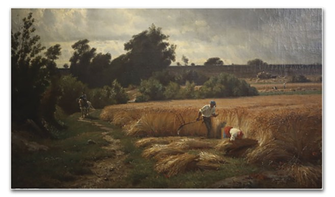 Segando el trigo, por François-Louis Français - Museo de la cartuja de Douai (Francia)