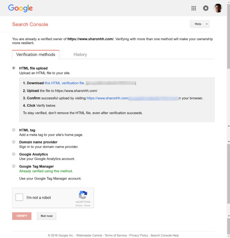 谷歌搜索控制台驗證