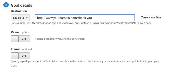 goal url conversion funnel