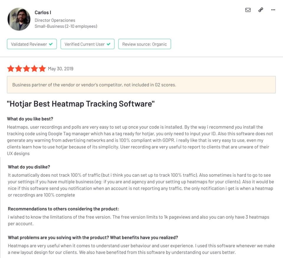 "Hotjar reviews: ""Hotjar Best Heatmap Tracking Software"""