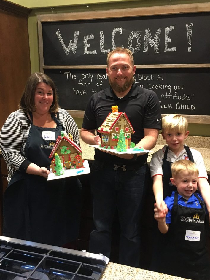 Family with Gingerbread houses