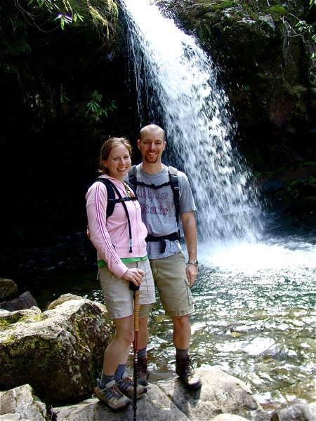 hikers-by-waterfall
