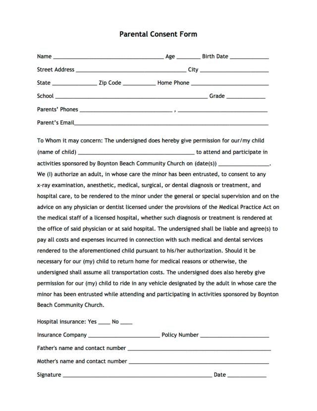 Parental Consent Form  Free Download