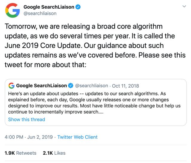 Google Sear Liaison's tweet on its 2019 Google core algorithm updates