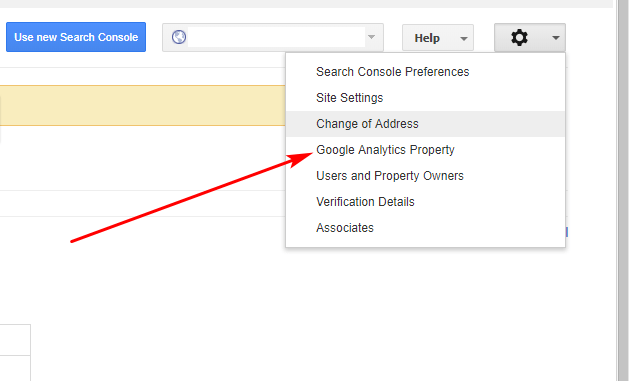 Screenshot of how to combine Google Analytics and Google Search Console