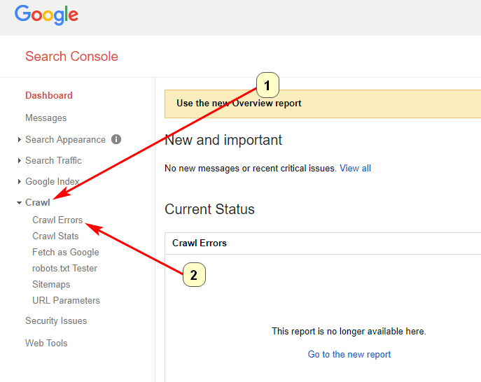 Screenshot of crawling and identifying site errors in Google Search Console
