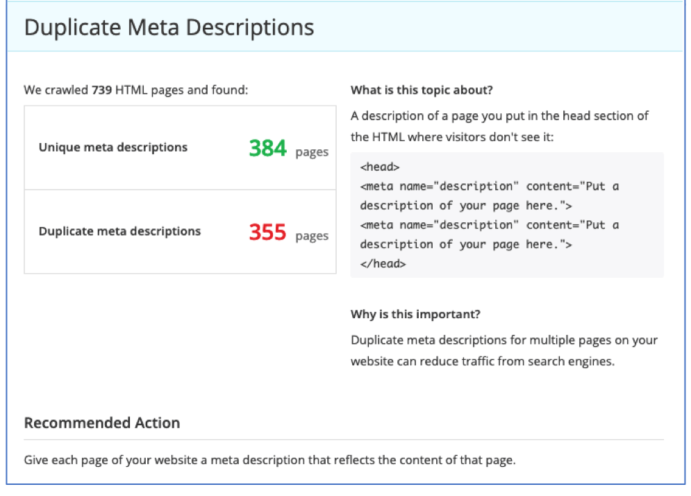 Example of resolving duplication of meta tag descriptions