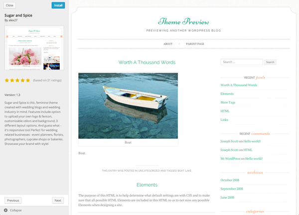 New Theme Browser in wordpress 3.9