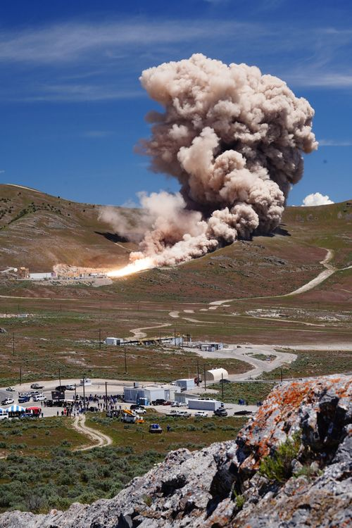 Northrop Grumman successfully conducted a full-scale static test of the first stage of its OmegA rocket May 30, 2019, at the company's facility in Promontory, Utah. Photo credit: Northrop Grumman