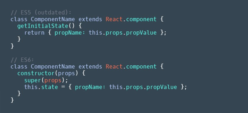 Replace `getInitialState()` with calling `super()` and setting `state` in `constructor()`