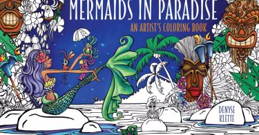 Mermaids in Paradise Coloring Book Cover - Ticket to Dreams Coloring Book by Karolina Kubikowska