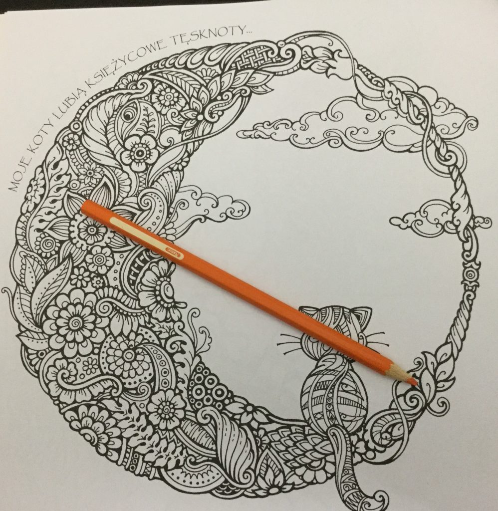 The coloring book analysis -  Cat In Quarter Moon From Kraina Basni Polish Coloring Book
