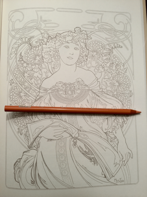 Mucha coloring book line art
