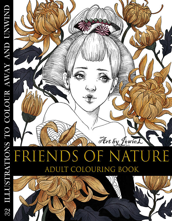 Friends of Nature Adult Coloring Book