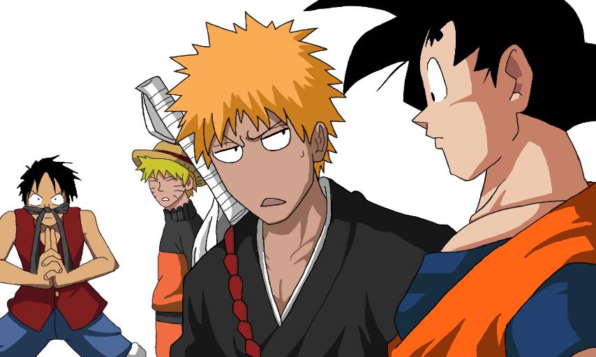 It's a battle royal scenario 3. Colors Live - Luffy Naruto Ichigo and Son-Goku by Lukidjano