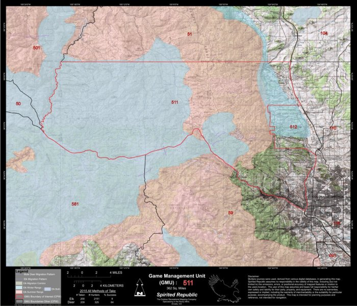 GMU 511 Colorado Big Game Hunting Map  Habitat and range    Spirited     Labels