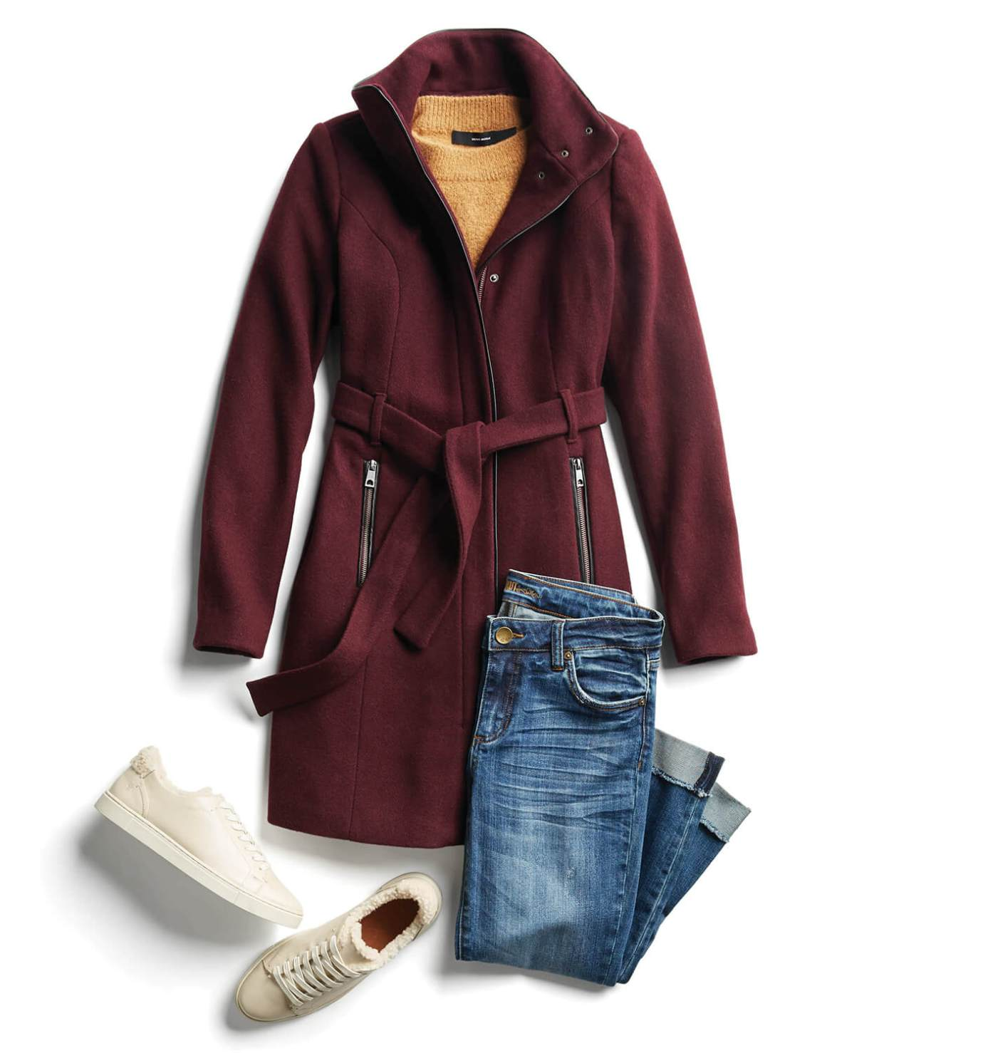 wrap coat with jeans