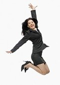 Lady happy in business suit