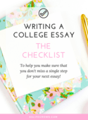 Writing a college essay the checklist (workbook image)