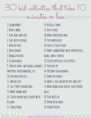 30 kid activities that are 10 minutes or less