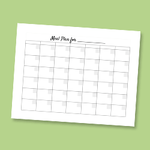 Meal plan month printable