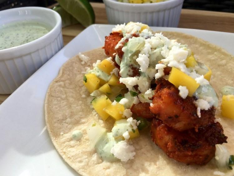 Blackened Shrimp Tacos with Mango Salsa and Cilantro Crema