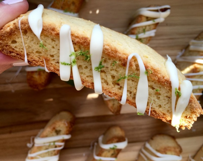Key Lime Biscotti with White Chocolate Drizzle